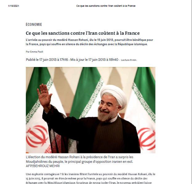 مطلب روزنامه لموند با تیتر «تحریمهای ایران چه هزینه ای برای فرانسه داشت؟»