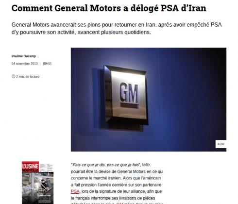 مطلب روزنامه فیگارو با تیتر «چگونه جنرال موتورز، پژو-سیتروئن PSA را از ایران بیرون راند؟!»